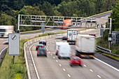 A 7, German Autobahn, automatic, electronic speed control signs, toll collect gantry, motorway, highway, freeway, speed, speed limit, traffic, infrastructure, Germany
