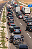 German Autobahn, traffic jam, congestion, A 8, cars, trucks, stopped, halt, motorway, highway, freeway, speed, speed limit, traffic, infrastructure, Germany