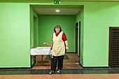 service, lavatory attendant, green restroom, roadhouse, woman, German Autobahn, motorway, freeway, traffic, infrastructure, Germany