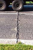 German Autobahn, Third Reich road, road crack, original surface of former Reichsautobahn, concrete, repair, tar seal, truck, motorway, freeway, speed, speed limit, traffic, infrastructure, Uckermark, Germany