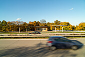 former Reichsautobahn, Third Reich,  A12, disused service station, petrol station, deserted, disused, historic, protected building, German Autobahn, motorway, highway, freeway, speed, traffic, infrastructure, A 12, Germany