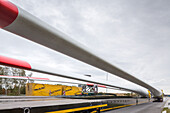 A 27, German Autobahn, wind turbine transport, rotor blades, heavy load, motorway, freeway, speed, speed limit, traffic, infrastructure, Germany