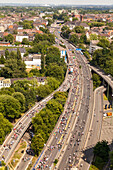 aerial, car free Autobahn, A 40, road closed for public, cyclists, motorway, freeway, speed, speed limit, bicycle traffic, crowds, infrastructure, event, Essen, Germany