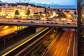 German Autobahn, A 100, Kaiserdamm, city traffic at night, overpass, motorway, freeway, highway, speed, speed limit, traffic, cars, infrastructure, tail lights, lamps, steet lights, lighting, parking, lanes, dynamic, motion, headlights, light trails, stre