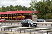 German Autobahn, A 115, deserted former service station, border, West, petrol station, gas station, motorway, freeway, speed, speed limit, traffic, infrastructure, Berlin, Germany