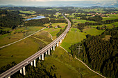 aerial, German Autobahn, A 7, crosses the Rottach, landscape, motorway, highway, freeway, speed, speed limit, traffic, infrastructure, near Kempten, Germany