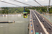 German Autobahn approach road, cable cars cross Rhine bridge, Zoo bridge, motorway, freeway, speed, speed limit, traffic, infrastructure, Cologne, Germany