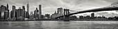 Brooklyn Bridge with Skyline Manhatten East River, New York City, New York, USA