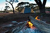 Camp near the shores of Lake Geirdner, Lake Geirdner, Australia, South Australia