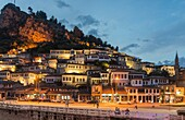 The Mangalemi district of Berat with its ottoman period, houses in the old town of Berat in central Albania