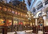 Interior of the Byzantine church of Shen Meria, St Marys, showing the carved and guilded iconostasis At Labova near Gjirokaster in Southern Albania