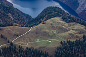 Farmhouse with lake Koenigssee, Jenner, Berchtesgaden, Bavaria, Germany.