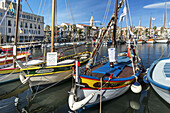 Mediterranean Fishing boats at Sanary-Sur-Mer , Promenade, Mistral Clouds, Cote d Azur, France