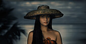 Beautiful, young woman in traditional hat , Bohol Island   Visayas