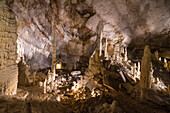 The natural show of Frasassi Caves with sharp stalactites and stalagmites, Genga, Province of Ancona, Marche, Italy, Europe
