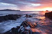 Sunset overlooking Horn Head and the on the beautiful Irish coastline, part of Ireland's Wild Atlantic Way, County Donegal, Ireland