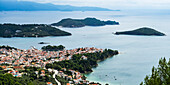 View of the Aegean Sea and a village on the coast of a greek island, Skiathos, Greece