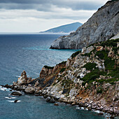 Rugged coastline of a greek island and the Aegean sea, Skiathos, Greece