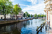 view to Amstel from the Aleminiumbrug in Amsterdam, Netherlands