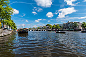 view to the Magere Brug in Amsterdam, Netherlands