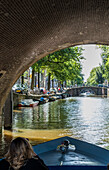 boats tour on the Grachten in Amsterdam, Netherlands