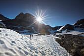 Weg zum Piz Cotchen, Sesvennagruppe zw Unterengadin Schweiz und Vinschgau, Italien