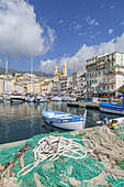 Fishing boat in Port de Plaisance in Bastia, Corsica, Southern France, France, Southern Europe