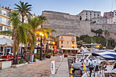 Harbour of Calvi underneath the citadel, Corsica, Southern France, France, Southern Europe