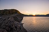 Sunset at Lake Edersee Atlantis, the half island of Scheid surfaces in autum light Hammerbergspitze, Scheid, Edersee, Hesse, Germany, Europe