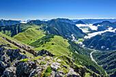 Blick auf Rofan und Achensee, von Mondscheinspitze, Naturpark Karwendel, Karwendel, Tirol, Österreich
