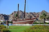 Old Dhau ship at Al Bustan Hotel near Muscat, Oman