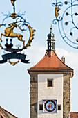 The famous photo motive tower Siebersturm, Rothenburg ob der Tauber, Bavaria, Germany