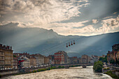 Quaint Village and River with Mountains in Background, Grenoble, France