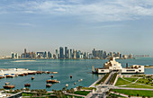 Doha cityscape and harbor, Doha, Qatar