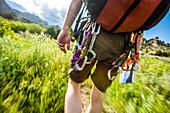 Carabiners on Caucasian hiker