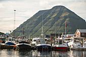 Kleines Fischerdorf umgeben von grün bewachsenen Bergen, Färöer Inseln
