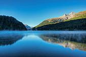 Lake Champfer with Piz Lagrev, Champfer, Engadine, Canton Grisons, Switzerland