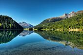 Lake Champfer with Piz da la Margna and Piz Lagrev, Champfer, Engadine, Canton Grisons, Switzerland