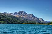 Lake Silvaplana with Piz da la Margna, Silvaplana, Engadine, Canton Grisosns, Switzerland