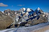 Bernina-range with Piz Morteratsch, Piz Palu, Piz Bernina, Piz Scersen und Piz Roseg, Engadine, Canton Grisons, Switzerland