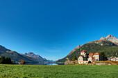 Crap da ass castle with Lake Silvaplana, Piz da la Margna and Piz Polaschin, Silvaplana, Engadine, Canton Grisons, Switzerland