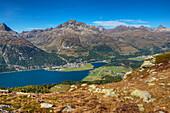 Lake Silvaplana with Silvaplana, Champfer und Piz Julier, Engadine, Canton Grisons, Switzerland