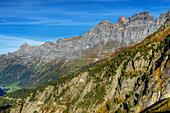 Sustenpass road with Tallistock and Wendenstocken, Urner alps, Canton Berne, Switzerland