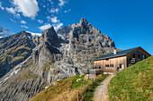 Baregg hut with Eiger, Grindelwald, Bernese alps, Canton Berne, Switzerland