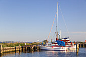 Boats in the harbour of Kloster, Island Hiddensee, Baltic coast, Mecklenburg-Western Pomerania, Northern Germany, Germany, Europa