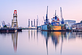 Ships and cranes in the port of Bremerhaven, Hanseatic City Bremen, North Sea coast, Northern Germany, Germany, Europe