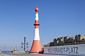 Beacon Unterfeuer in the new port of  Bremerhaven, Hanseatic City Bremen, North Sea coast, Northern Germany, Germany, Europe
