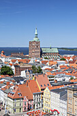 View from church St. Marien over the historic city, Strelasund and island Ruegen, Hanseatic City Stralsund, Baltic Sea coast, Mecklenburg-Western Pomerania, Northern Germany, Germany, Europe