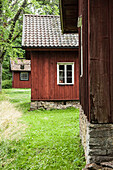 Old, historical wooden houses in Gossater, Vastergotland, Sweden