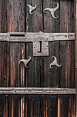 Detailed view of an old door with fittings in the museum of local history in Rattvik, Dalarna, Sweden